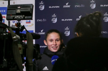 Marie Detruyer of OHL gives an interview after a female soccer game between Oud Heverlee Leuven and Femina White Star Woluwe on the 5 th matchday of the 2020 - 2021 season of Belgian Scooore Super League ,